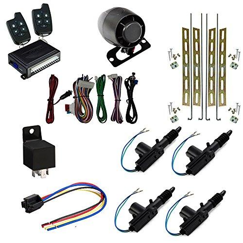 Astra Scytek A20 Galaxy Series Complete Car Security Alarm System & Keyless Entry w/ 5-Button Remote + (4) Universal Power Door Locks 2 Wire Actuator Kit + (4) Door Lock - Wire 5 Door Locks