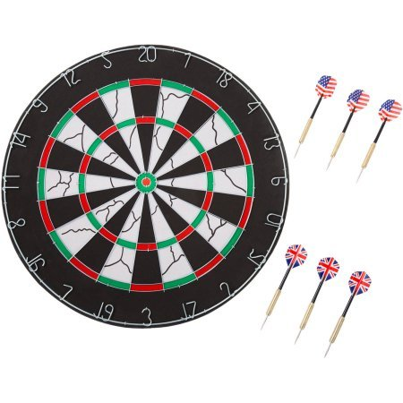 Hey! Play! 18'' Double-Sided Flocking Dartboard with Six 17g Darts