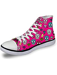 "<span class=""a-offscreen"">[Sponsored]</span>Womens Canvas Sneakers Casual High Top Fitness Lace up Shoes Cartoon Skull Pink"