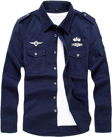 Yuandian Hombre Camisa Estilo Militar 100% Algodón Casual Manga Lrga Solid Color Shirt Slim Fit Botones De Metálico Charretera Embroidery Camiseta: Amazon.es: Ropa y accesorios