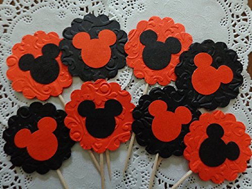 (Mickey Mouse Halloween Cupcake Toppers - Elegant Damask Embossed Halloween Party Picks - Food Picks - Orange and Black Double Sided (Set of)