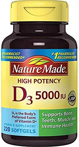 Nature Made Vitamin D3 5000 IU Ultra Strength Softgels Value Size 220 Ct kddd