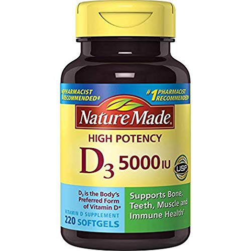 Nature Made Vitamin D3 5000 IU Ultra Strength Softgels Value Size 220 Ct