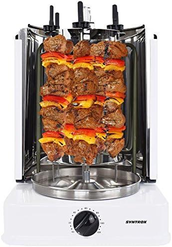 Rôtissoire à kebab Syntrox Germany avec brochettes sur support rotatif et minuteur 120minutes- Blanc