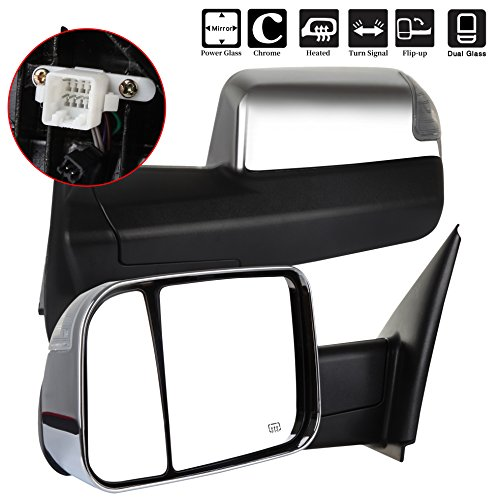 2500 Chrome Back Power Mirror - SCITOO Towing Mirror fit 2002-2008 Dodge Ram 1500 4.7L 5.7L 2003-2009 Dodge Ram 2500 3500 5.7L 6.7L Power Heated Signal Chrome Cover Side View Mirrors 2002 2003 2004 2005 2006 2007 2008 2009