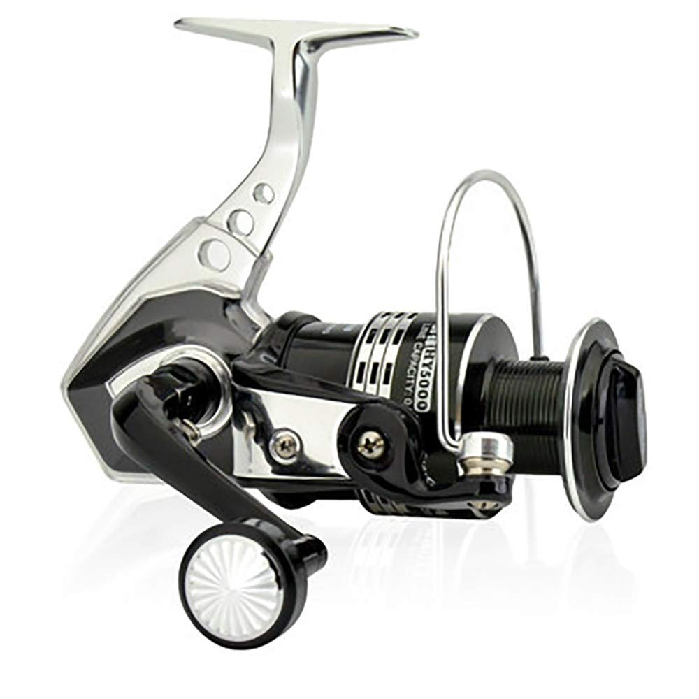 Lumeng Fishing Reel Rotating Fishing Reel Left/Right Interchangeable Collapsible Strong Metal Body (Color : Black, Size : 4000) by Lumeng