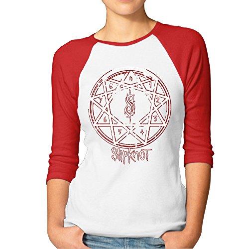 GOww Women's Music Slipknot Logo 3/4 Sleeve Baseball T -