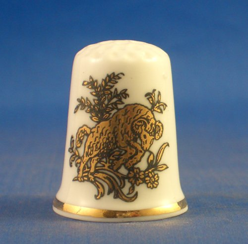 Porcelain China Collectable Thimble - Gold Signs of the Zodiac -- Aries the Ram - Free Gift Box