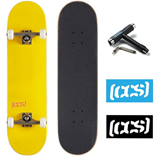 CCS Logo and Natural Wood Skateboard Completes - Fully Assembled (Yellow, 7.75)
