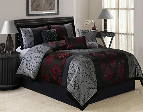 7 Piece SHANGRULA Big Square Patchwork Jacquard Comforter Sets Queen King CalKing (King, Gray/Red)