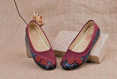 Antiguo Fondo Fondo Blando Transpirable Moda Femeninos y Sandalias Antideslizante la Madurez vejez Zapatos Tela Cómodo AJUNR Zapatos gules la de Beijing Elegante Mama Plano Primavera de 86Bqf61n