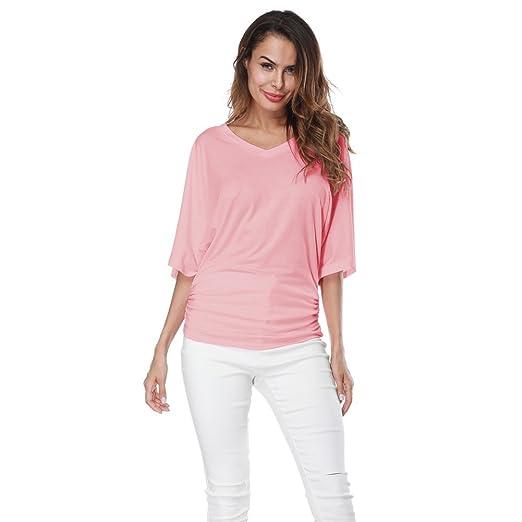 19280ec72d EFINNY Women V Neck Dolman Blouse Tops Batwing Shirring Loose Ruffle Short  Sleeve T-Shirts at Amazon Women s Clothing store