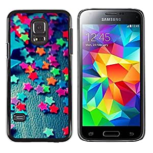 Paccase / SLIM PC / Aliminium Casa Carcasa Funda Case Cover para - Teal Stars Candy Pattern Minimalist - Samsung Galaxy S5 Mini, SM-G800, NOT S5 REGULAR!