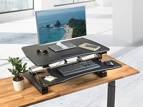 Monoprice Electric Height Adjustable Sit Riser Table Top/Desk | Inch Area, Single Monitor -