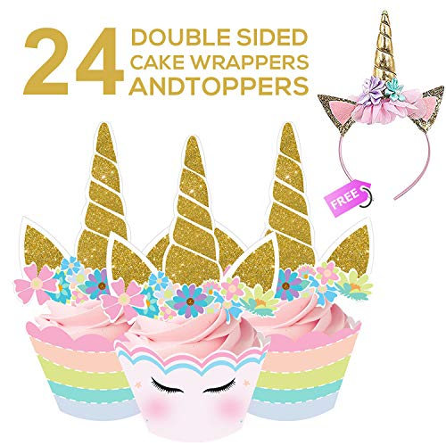 Ranmid Unicorn Cupcake Decorations | Set of 24 Colorful Double Sided Cake Wrappers and Toppers with Hot Stamped Gold Design | FREE Beautiful Gold Headband | Perfect Unicorn Theme Party Decoration Kit