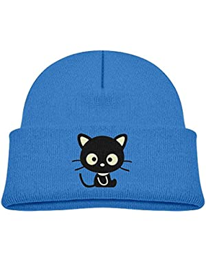 Kids Cool Black Baby Cat Pattern Casual Flexible Winter Knit Hats/Ski Cap/Beanie/Skully Hat Cap