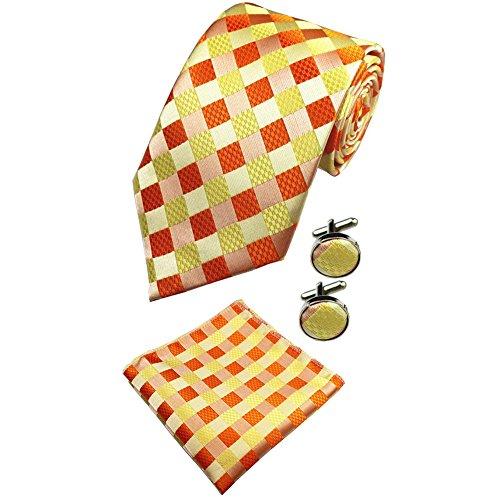New Orange Necktie Classic Geometric Silk Ties Sett t -09-22 (Geometric Classic Tie)