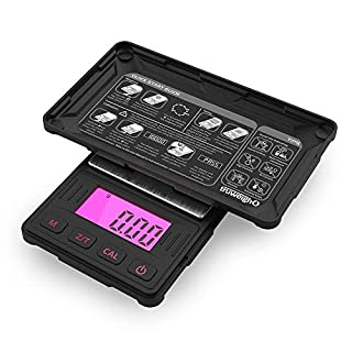 Truweigh - RIOT Digital Mini Scale - 100g x 0.01g - Long Lasting Portable Grams Scale for Kitchen Scale, Food Scale and Postal Scale (Pink/Black)
