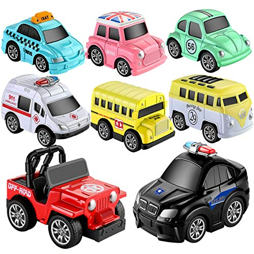Geyiie Toys Pull Back Vehicles, Car Toy Play Set, 8 Packs, Friction Powered Die-cast Cars Trucks Playset for Boys Girls…