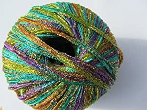 Euro Yarns Glamour Glitzy Ribbon Yarn Color 5 Emerald Green, Purple, Gols