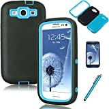 Galaxy S3 Case, EC™ Deluxe Triple Layer Case, Shockproof Case, Rubber Combo Hybrid Impact Silicone Armor Hard Case Cover for Samsung galaxy S3 i9300 with Screen Protector and Stylus (T-Blue/Black)
