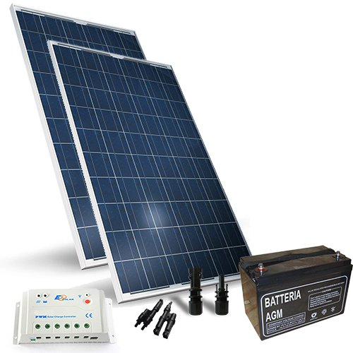 Kit solar Pro 400W 12V Solarmodul Regulateur Lade-30a-pwm 1x Akku
