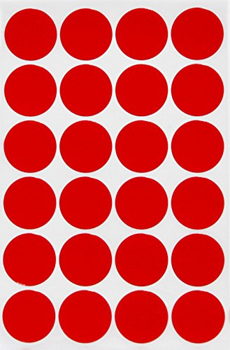 Red dot stickers colored labels - Round circle 25mm - 120 pack by Royal - Color Circle