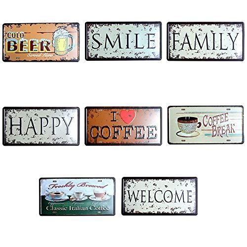 15cm Kentop Poster Mural Plaque en M/étal Poster M/étallique Plaques Art Mural Motif de I Love Coffe pour Caf/é Bar Pub 30