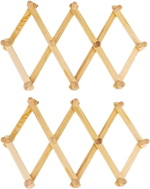 ECOSWAY 10 ganchos de madera extensible estilo acordiano gancho de ...