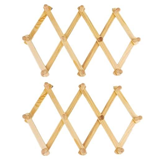 ECOSWAY 10 ganchos de madera extensible estilo acordiano ...