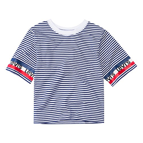 Levi's Girls' Little Cropped Graphic T-Shirt, Medieval Blue Stripe, 6]()