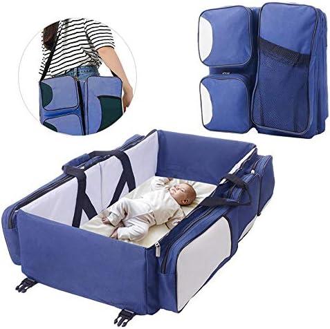 Cama de Viaje para beb/é Azul//Gris//Blanco Crema Cuna de 75 x 40 x 20 cm FOONEE Cuna de Viaje 3 en 1 Cambiador de Cuna de Viaje