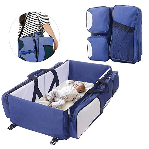 FOONEE Baby Travel Bed, Bag Travel Bassinet for Baby, 3 in 1 Diaper Bag Travel Bassinet Change Station, Mommy Bag Crib 75x40x20cm,Grey (In Bag 3 Travel Diaper 1 Bed)