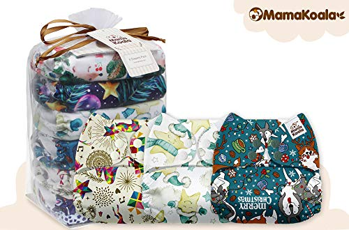 Mama Koala One Size Baby Washable Reusable Pocket Cloth Diapers, 6 Pack with 6 One Size Microfiber Inserts (Fancy Vibe)