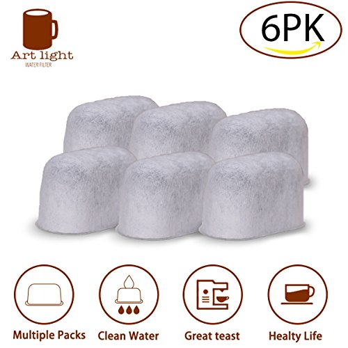 Art light Keurig Coffee Filter Replacement 6 Pack Compatible Water Filters Universal Fit Keurig Compatible Filters - Replacement Charcoal Water Filters for Keurig 2.0 and Classic 1.0 Coffee Machines