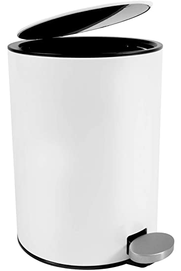Bamodi Cubo de Basura con Pedal Premium Pequeñas papeleras de baño, Aseo u Oficina - 3L - Papelera de baño de Acero Inoxidable con cesto extraíble - ...