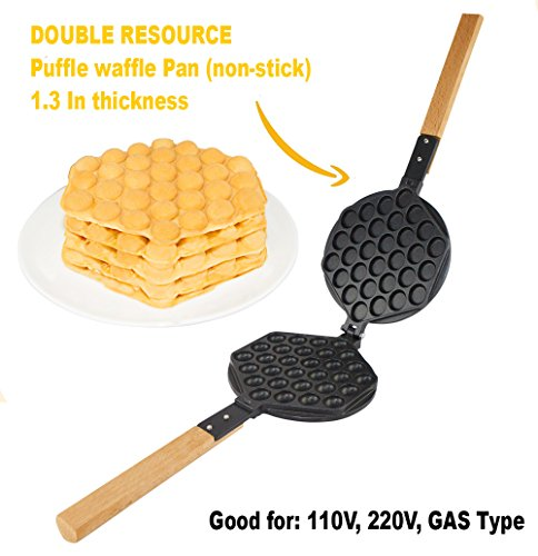 TOP Version Puffle Waffle Maker Professional Rotated Nonstick (Grill / Oven for Cooking Puff, Hong Kong Style, Egg, QQ, Muffin, Cake Eggettes and Belgian Bubble Waffles) (MOLD)