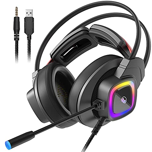 Monster Mission Bot Gaming Headset, PC Gaming Headphones with Noise Cancelling Microphone, Colorful RGB Light, Adaptive Suspension Headband. Compatible with PC/Mac/PS5/Xbox One (Black)