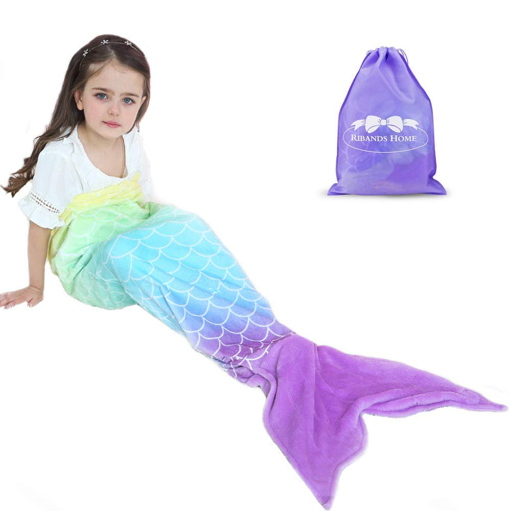 RIBANDS HOME Cozy Mermaid Tail Blanket for Kids and Teens Soft Flannel Fleece Wrapping Cover with Colorful Ombre Fish Tail - All Seasons Plush Sleeping and Napping Coverlet (Ages 3-16) by RIBANDS HOME