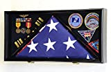 Large Flag & Medals Military Pins Patches Insignia Holds up to 5x9 Flag Display Case Frame Cabinet Shadowbox (Black Finish)
