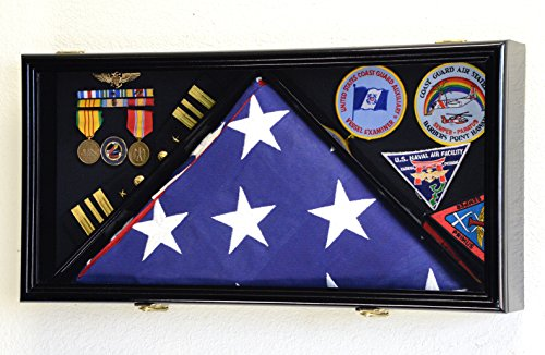 Large-Flag-Medals-Military-Pins-Patches-Insignia-Holds-up-to-5×9-Flag-Display-Case-Frame-Cabinet-Shadowbox-Black-Finish