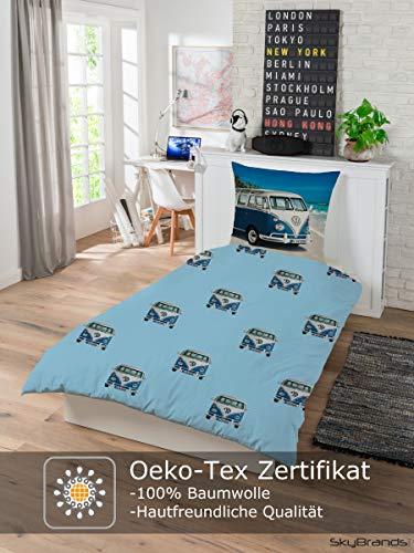 51JIHhe0KDL Bettwäsche VW Bulli 135x200 80x80 Kissenbezug [Wendemotiv] Baumwolle Bettbezug Volkswagen Bett Set [Mit Reißverschluss…