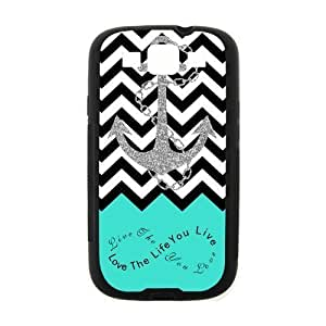 Live the Life You Love, Love the Life You Live. Turquoise Black White Chevron with Anchor luxury cover case for Samsung I9300 GALAXY S3(Black)ALL MY DREAMS