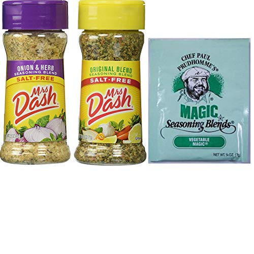 Mrs Dash Best Seasoning Salt Substitute. Original Blend and Onion and Herb. One-Stop Shopping For 2 Popular Seasoning Blends. Also Included: Free Sample Chef Paul Magical Seasoning Mix. by Bundle