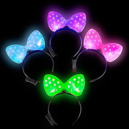 Lumistick Light-Up Flashing Polka-Dot Bow Headband, 1 Piece ()
