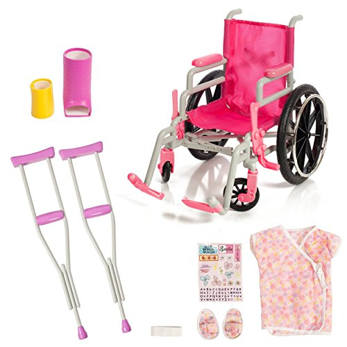 Beverly Hills Doll Accumulation Wheelchair Set for 18 Inch American Girl Dolls Fully Assembled Wheelchair, Doll Crutches & Casts with thorough Hospital Gown