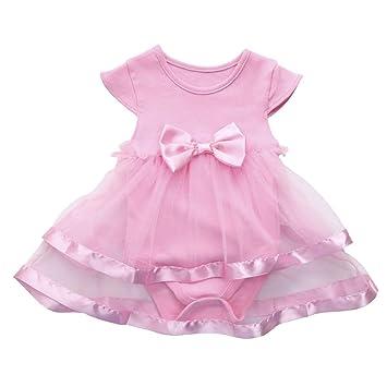 b130cff9aa2be LianMengMVP Petites Filles Anniversaire Enfant Tutu Arc Robe de soirée  Princesse Barboteuse Robe Filles Cérémonie Bébés