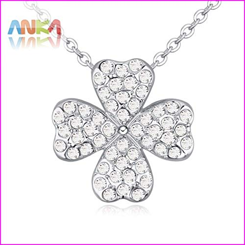 (Davitu Trendy Women Jewelry Rhodium Plated Fashion Clover Full Crystal Pendant Necklace #115570 - (Metal Color: 115572))