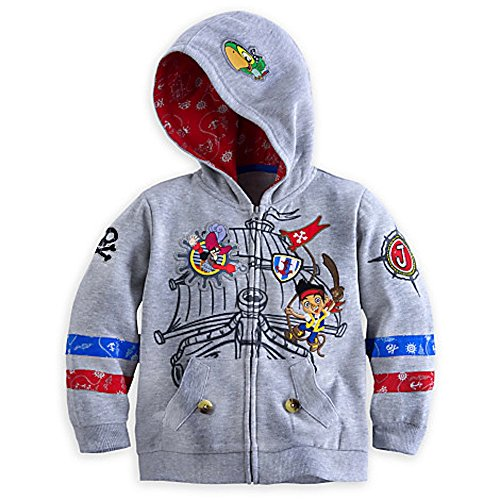 Disney Store Jake and the Never Land Pirates Hoodie Jacket Grey Size XS 4 4T