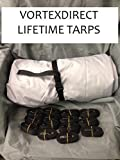 BRAND NEW VORTEX LIFETIME TARP, 28' X 28', HEAVY DUTY MARINE GRADE CANVAS, GREY/GRAY (FAST SHIPPING - 1 TO 4 BUSINESS DAY DELIVERY)